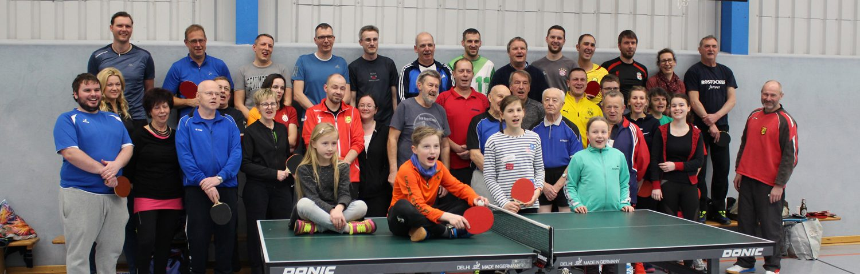 Gruppenbild der Dorfmeisterschaften im Tischtennis 2019