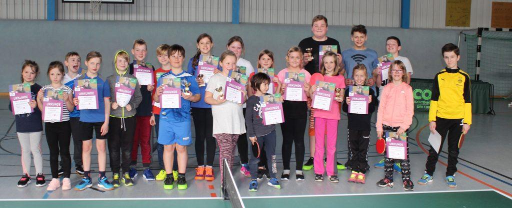 Gruppenbild der Minimeisterschaften Kinder im Tischtennis 2019
