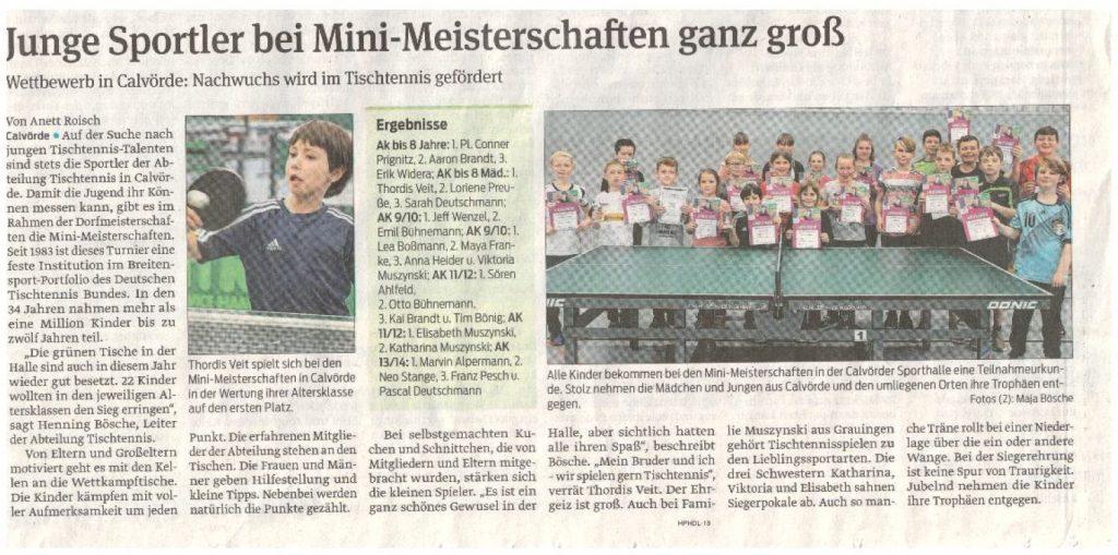 Volksstimme Artikel über die Minimeisterschaften Kinder im Tischtennis 2020